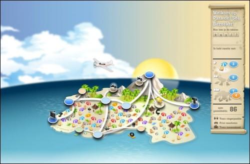 Verover het eiland door de oefeningen in de dorpen te spelen.