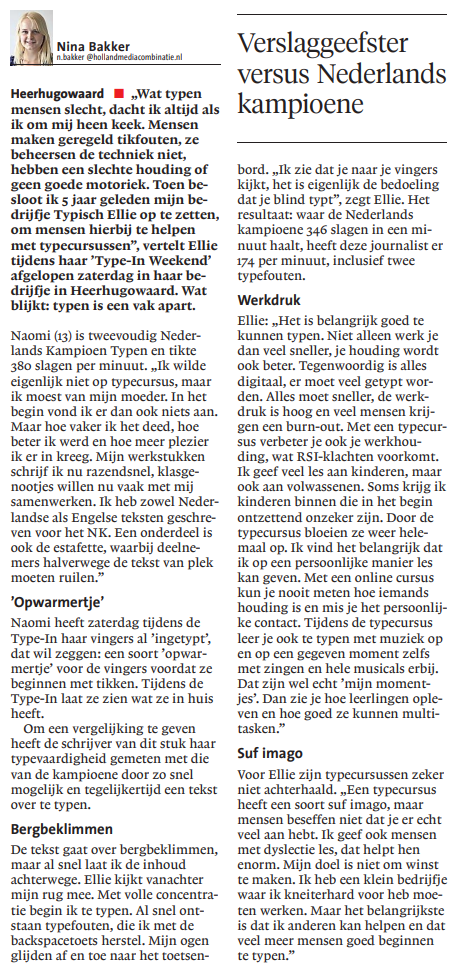 Verslaggeefster versus Nederlands kampioene blindtypen